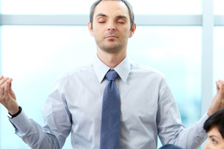 image depicting corporate man being mindful and productive